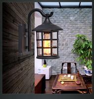 art deco gates - Vintage Rustic Iron Waterproof Wall Lamp Kerosene Lantern Light Rusty Matte Corridor for Doorway Gate Hallway Outdoor Lighting