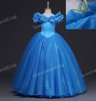 Wholesale 2015 Real Image Kids Cosplay Cinderella Dress Flower Girl Dresses Child Wedding Party Princess Ball Gown Girls Pageant Gowns Size