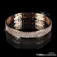amazing christmas gifts - 2015 Amazing Gold Luxury Row Shiny Rhinestone Gold Plated Bangle Wedding Bracelets Bridal Jewelry Christmas Party Prom Accessories Gift