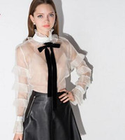 Wholesale Spring women blouses fashion sexy sheer white women tops ruffles layers stand collar with bowtie HDY F705