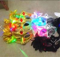 Wholesale 30pcs Italy New Style LED Venice Shiny Masks Flashing Princess Mask Dance Mask Side Plating Mask Pointed Flower Luminous Masks