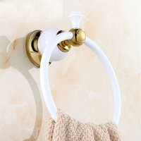 Wholesale And Retail White Golden Painting Towel Rack Ring Holder Solid Brass Towel Rack Holder Round Towel Ring