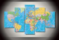 Cheap 5p Printed - World Map Group Painting children's room decor print poster picture canvas Art Unique gifts - on canvas - Free shipping
