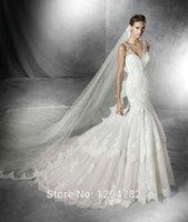 Cheap New Fashionable 2016 Custom Made Elegant moderate V-neck car bone lace Bridal Gown Sleeveless Mermaid Wedding Dress