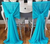 Wholesale New Arrvail Turquoise Chair Sashes for Wedding Event Party Decoration Chair Sash Wedding Ideas Chiffon