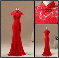 Wholesale 2016 Retro Lace Red Chinese Cheongsam Chinese Dresses Mermaid Court Train Long Bridal Party Gown Real Photos vestidos de novia