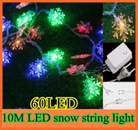 Wholesale 10pcs LED M RGB LED String Snow Pompon led Christmas Light Wedding Party Decoration String Lights V EU christmas trees light