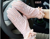 driving gloves - Women Golves Fashion Lace UV Gloves Lady Accessories Summer Cycle Slip Gloves Lady Car Drive Sun Protection Hand Wear DFO46
