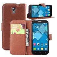 100PCS, 2015 Funda de cuero Flip Wallet Nueva Litchi la cubierta del soporte para Alcatel One Touch Pop 2 OT5042x M5 4.5inch del teléfono móvil del bolso del caso
