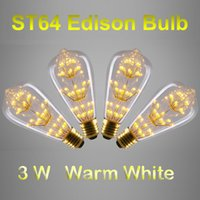antique pendant lamps - Antique Style ST64 Edison Bulbs E27 B22 Warm White W Decorative Clear Glass Globe Light Retro Squirrel Cage Pendant Lamp Bulb