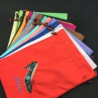 buy black shoe bags wholesale - Reusable Drawstring Satin Travel Shoe Bag Storage Pouch Dust Bags Embroidery Heels High End Fabric Protection Cover with Lined Wholesale