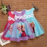 Wholesale New Elsa Anna dress baby kids girl dress casual striped lace caual tutu dress A