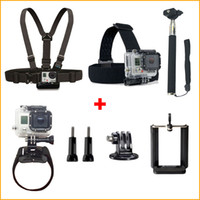 Wholesale 2015 Rushed Multimeter Go Pro Accessories Chest Strap head Strap handle Monopod monopod Adapter clip s Gopro Hero4 Hero Hd Camera