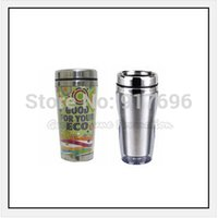 stainless steel double wall bottle - New double wall printed logo stainless steel coffee sports mug water drink cup bottle