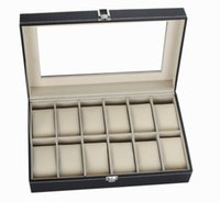 watch boxes wholesale - 12 Grid Leather Watch Display Case Jewelry Collection Storage Organizer Box Holder EMS DHL