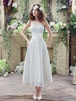 Wholesale Amy Michelson Grace Blush Tea Length Open Back Lace Wedding Party Dress In Stock Sweetheart Hand Made Flower Bridal Gowns