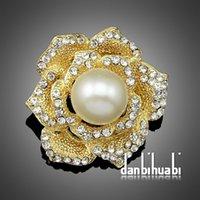 aa pins - 3PC Rhinestone Crystal Wedding Bridal Brooches Bouquet Silver Flower Faux Pearl Brooch Pins Aa