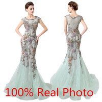 amazing print design - 2016 New Design Real Photo Mint Lace Tulle Mermaid Dresses Party Pageant Prom Wear Amazing Embroidery Floral Evening Dresses