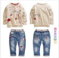 Wholesale Lowest Price girls fashion cowboy denim sets children long sleeve t shirt jeans outfits kids autumn christmas Xmas clothes