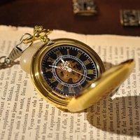 antique gold watch chain - Antique Men Pocket Watch Gold Roman Mechanical Pocket Watch with Pendant Chain Fashion Round Luxury Brand Watch PW105