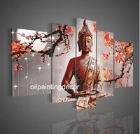 Wholesale Hand Painted Buddha Paintings Canvas Abstract Art For Sale Modern Red Flower Moon Landscape Oil Pictures pc Art Wall Decor Sets