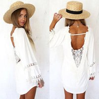 long casual dresses - Women White Lace Crochet Long Sleeve Bikini Cover Up Casual Beach Dress Swimwear