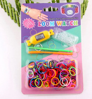 Cheap 8 colors Rainbow Loom Watch Kit Candy Watch 300 Bands 2 Mini Hooks S Clip Diy Craft New Design Loom Watch DIY Bracelet loom watch TP24 10pc