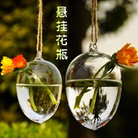 Wholesale 2pcs set opening holes glass egg planters water culture hanging vase indoor planter vase for garden decoration home decor