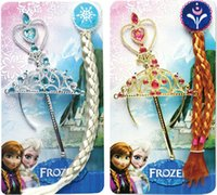 Wholesale Frozen Princess Elsa Anna Magic Wand Rhinestone Crown Hairpiece Girls Wig Party Accessories