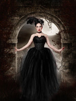victorian ball gown wedding dresses - Gothic Scary Black Ball Gown Wedding Dresses Vintage Victorian Strapless Tulle Halloween Party Floor Length Corset Bridal Gowns Special