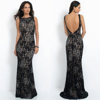 ab lower - Black Lace Evening Dresses Bateau Neckline Mermaid Sweep Train Plunging Low Back AB Crystal Beaded Sexy Evening Gowns
