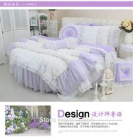 Wholesale Purple Dream classic Round bed lace weddingbedding kit velvet coral fleece duvetcover crystal luxury white rose girls wedding Round bed