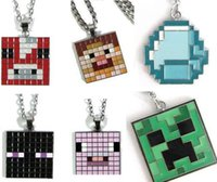 keychina - cartoon keychina necklace styles Minecraft diamond blue golden Necklaces keychain swords and pickaxes gift for kids adults