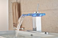 bathroom vanity colors - LED Colors Waterfall Bathroom Basin Faucet Vanity Sink Mixer Tap Deck Mounted W quot Plate for Holes