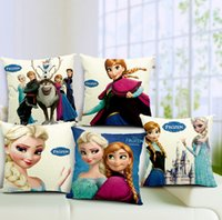 Wholesale Frozen pillow cover Ikea Cartoon Frozen ice romance cotton linen throw pillow cover cushion cover home decor houseware