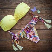 Wholesale Swimsuit Top Cute - 2015 Top Women's Beachwear Cute Girls Floral Swimsuit Bikini Bathing Suits Celebrity Bikini Beach Holiday Young Bikini
