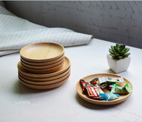 Wholesale quot Handmade Natural Rubber Wood Small Round Household Sushi Dessert Dinner Plate Tableware Dishes For Restaurant