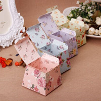 floral supplies - Idyllic Small Floral Candy Favor Holders Paper Wedding Supplies Chocolate Candy Boxes With Ribbon Bow cm Pink Blue Purple Green
