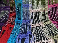 beaded pashmina - 300 pieces Beaded Scarves Customized colors crochet scarf for women fashion scarves woven beads style Hand hook scarf