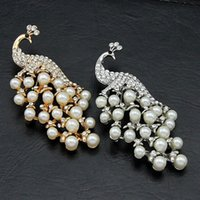 aqua sweaters - 407 Temperament Gorgeous k Gold Plated Peacock Simulated Pearl Diamante Sweater Brooches For Women X239