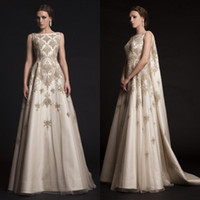 embroidered chiffon lace - Krikor Jabotian Prom Dresses Embroidered Beading Lace Appliques Dresses Party Evening Wear Arabic Watteau Train Satin Evening Gowns