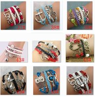 Wholesale Infinity Bracelets Mixed Fashion Jewelry Leather Infinity Charm Bracelet Vintage Antique Cross Anchor Love