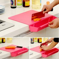 Wholesale Practical Novelty Chopping Block Antibacterial Foldable Combo Cutting Board With Vegetable Basket Plastic Kitchen Supplies