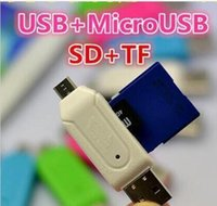 Wholesale 2 in USB Male To Micro USB Dual Slot OTG Adapter With TF SD Memory Card Reader GB GB For Android Smartphone Tablet Samsung Google