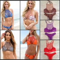 bikini bottoms - DHL Halter Crochet Bikini Acacia Swimwear Sexy Red Hipster Bikini Bottom High Neck Cut Out women bathing Suit