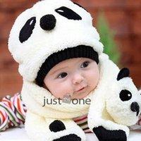 Wholesale Unisex Girls Boys Babies Infant Panda Cartoon Hat Cap Beanie with Scarf for Y
