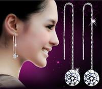 Wholesale Sliver Plate Wholesale - New Fashion 925 Sliver Earrings 2016 Romantic Ball Crystal Bridal Drop Earrings Dangle & Chandelier 10 pcs lot