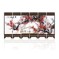 Wholesale New Wooden Chinese Handmade Classical Flower Lacquer Six Pieces Folding Screen