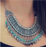 Wholesale 2015 Bohemian Style Gypsy Ethnic Choker Collar Vintage Maxi Statement Necklaces Pendants Collier Necklace Women Fine Jewelry