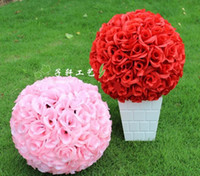 Wholesale 2015 Hot Sale inch Artificial Encryption Rose Silk Flower Kissing Balls Hanging Ball Christmas Ornaments Wedding Party Decorations Suppli